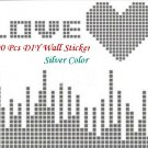 100 Pcs Silver 2x2cm 3D Wall Sticker Mosaic Mirror Effect Living Room Decor