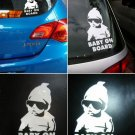 2 X Funny Cool Baby on Board Vinyl Car Sticker with sunglasses Decal Sign Window