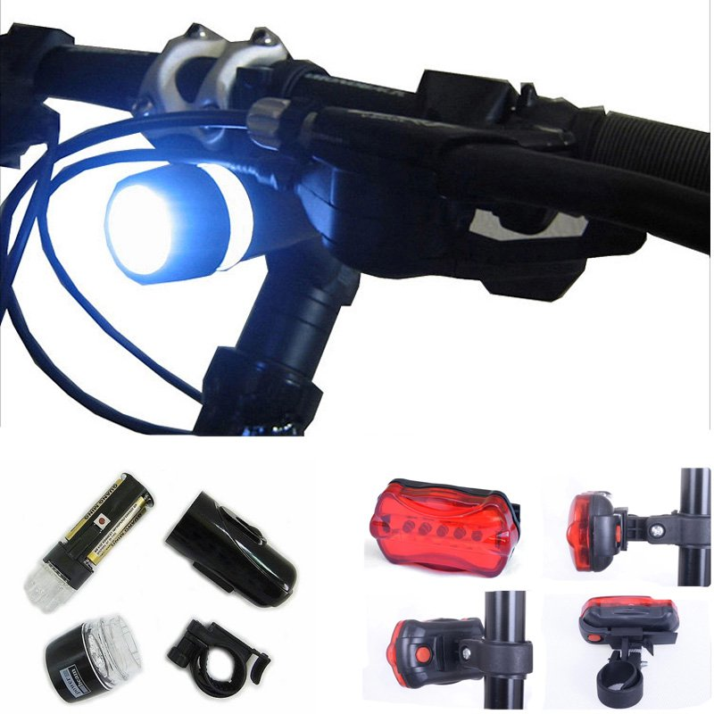 Waterproof 5 LED Lamp Bicycle Bike Front Head Light + Rear Safety Flashlight