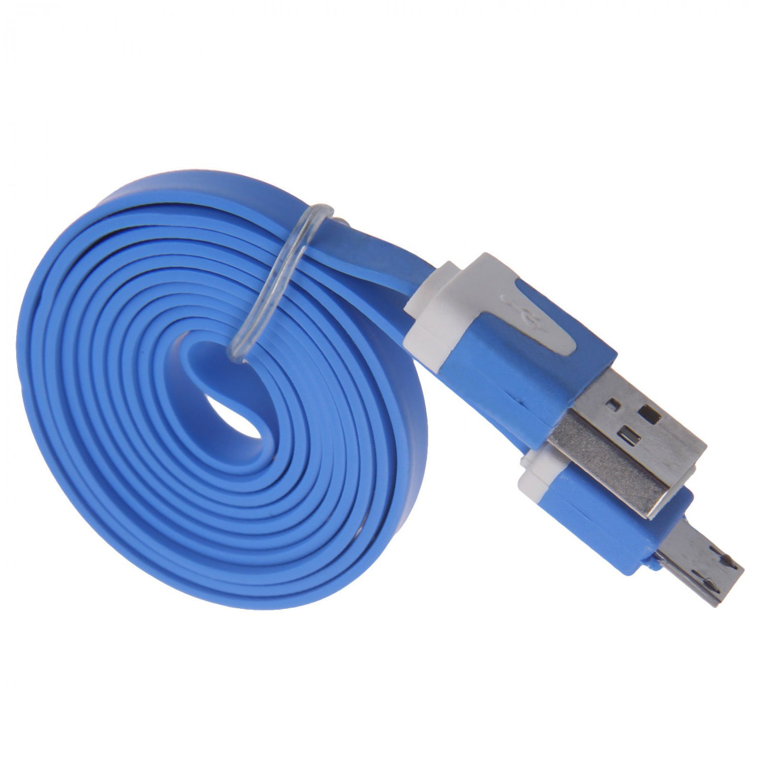 2M Blue Flat Noodle Micro USB Charger Sync Data Cable for Android Phones