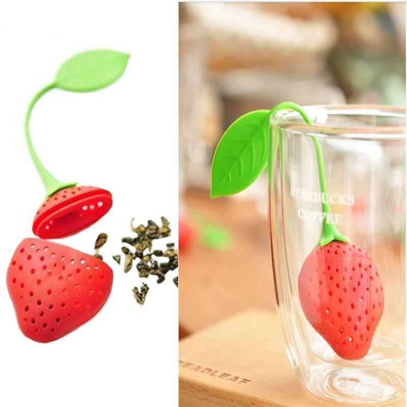 2 x Silicon Strawberry Design Tea Leaf Strainer Herbal Spice Infuser Tea Filter