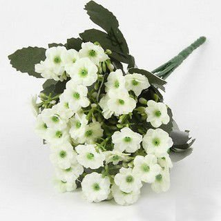 1 White Bouquet Artificial Orchid Silk Flower Leaf Home Decor (301246432698)
