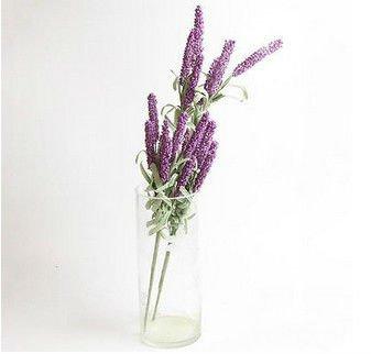 Light Purple 12 Heads Artificial Lavender Flower Leaves Bouquet(291196315510)