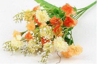 Orange Artificial Chrysanthemum Carnation 23 Head Flower Bush Bouquet Home Wedding(291193054339)