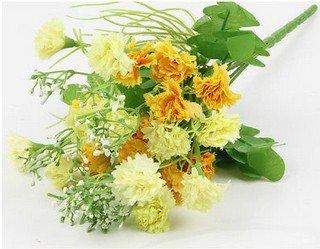Yellow Artificial Chrysanthemum Carnation 23 Head Flower Bush Bouquet Home Wedding(291193054339)