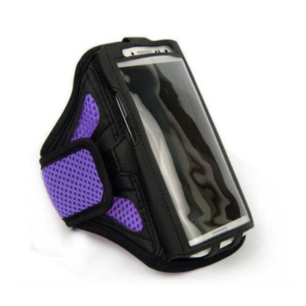 "Purple For iPhone 6 4.7"" Sports Running Cycling Mesh Armband Phone Case Cover"