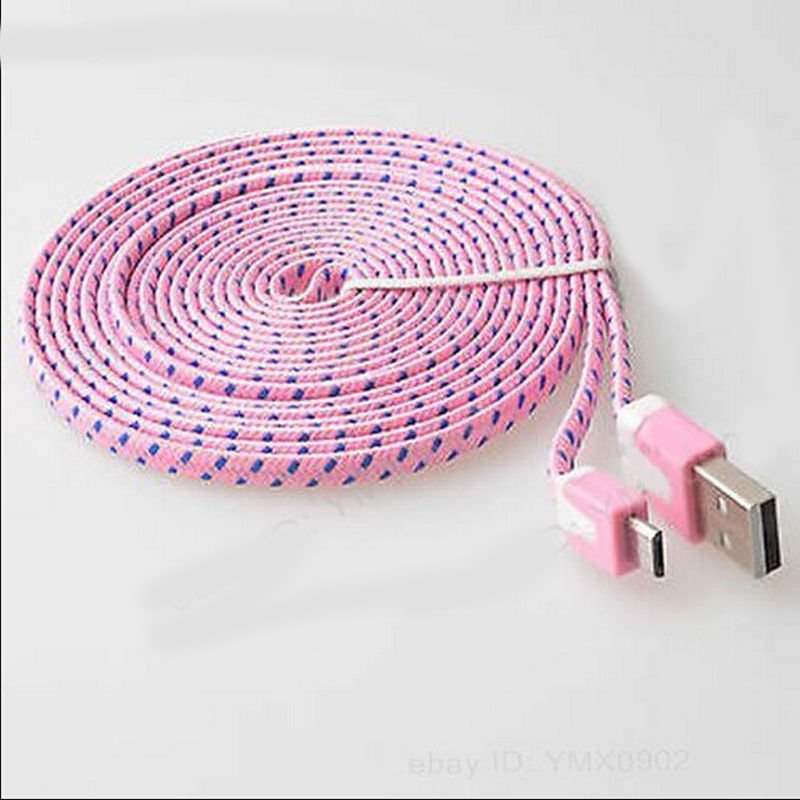 Light Pink Braided 9FT/3M Micro USB Cable For Galaxy S4 3 2 Note II Dealsbest