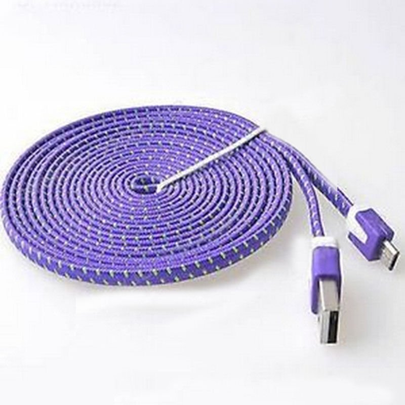 Purple Braided 3FT/1M Micro USB Cable For Galaxy S4 3 2 Note II Dealsbest