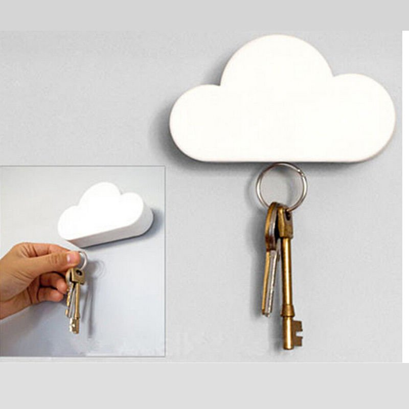 Cloud-shaped Magnetic Keychain White Cloud Novelty Key Holder Dealsbest