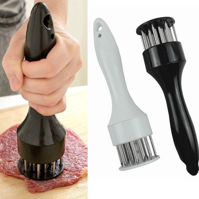Black Meat Tenderizer Tool With Stainless Steel Needle Home Kitchen Tool Dealsbest