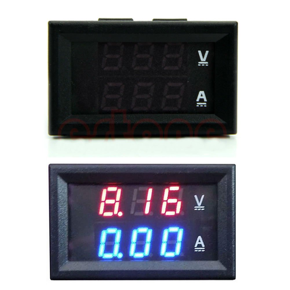 DC 100V 10A Voltmeter Ammeter Blue + Red LED Amp Dual Digital Volt Meter Gauge DB
