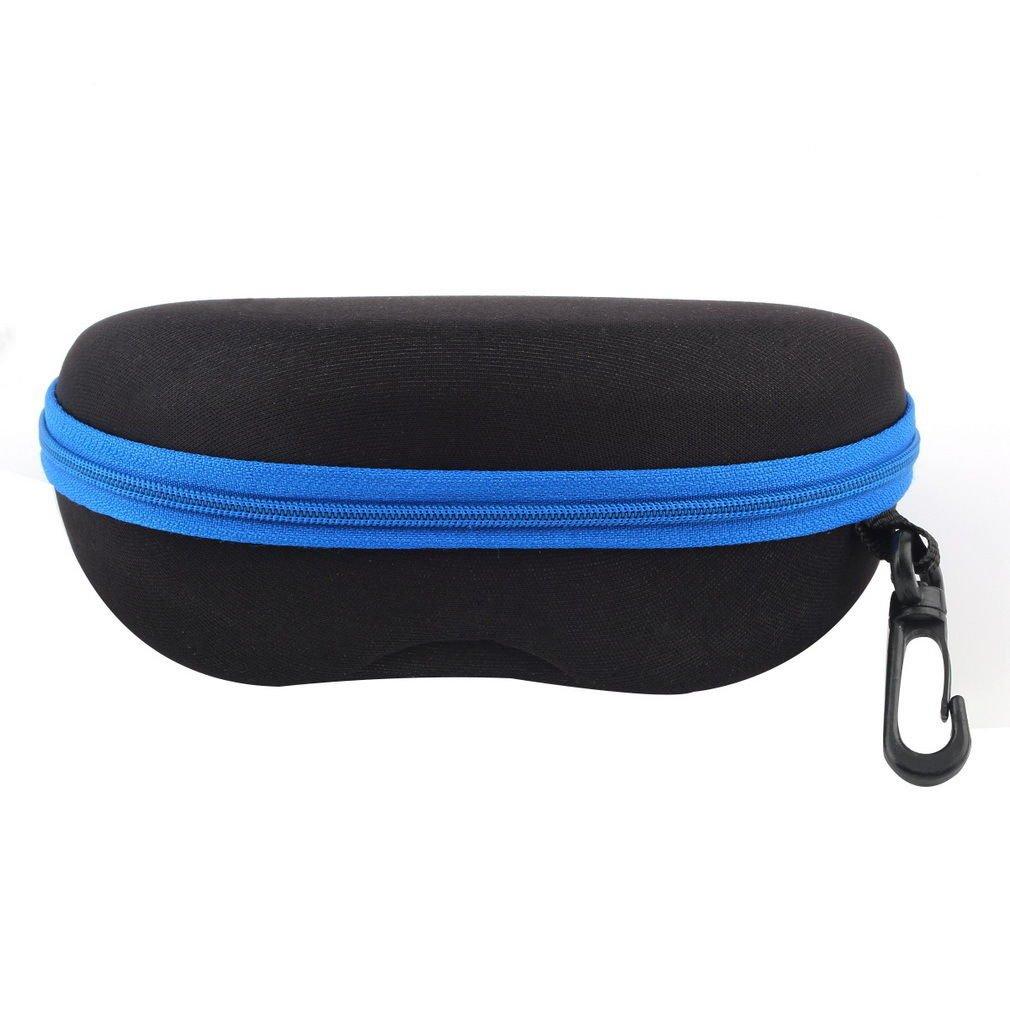 Blue Portable Zipper Eye Glasses Sunglasses Clam Shell Hard Case Protector Box