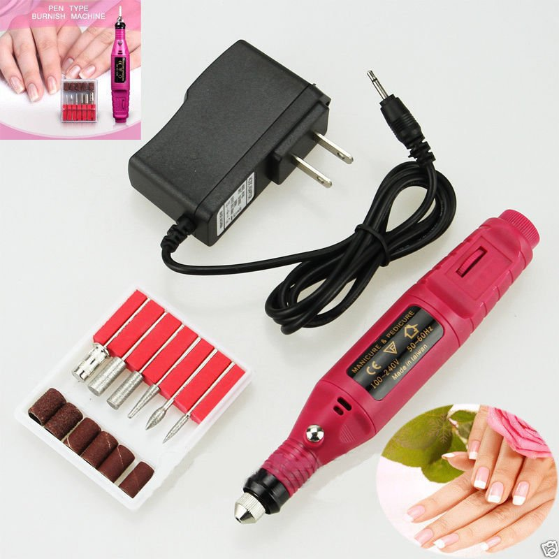 Polish Pen Shape Electric Nail Drill Machine with 6 Free Tools US Plug Adaper DB