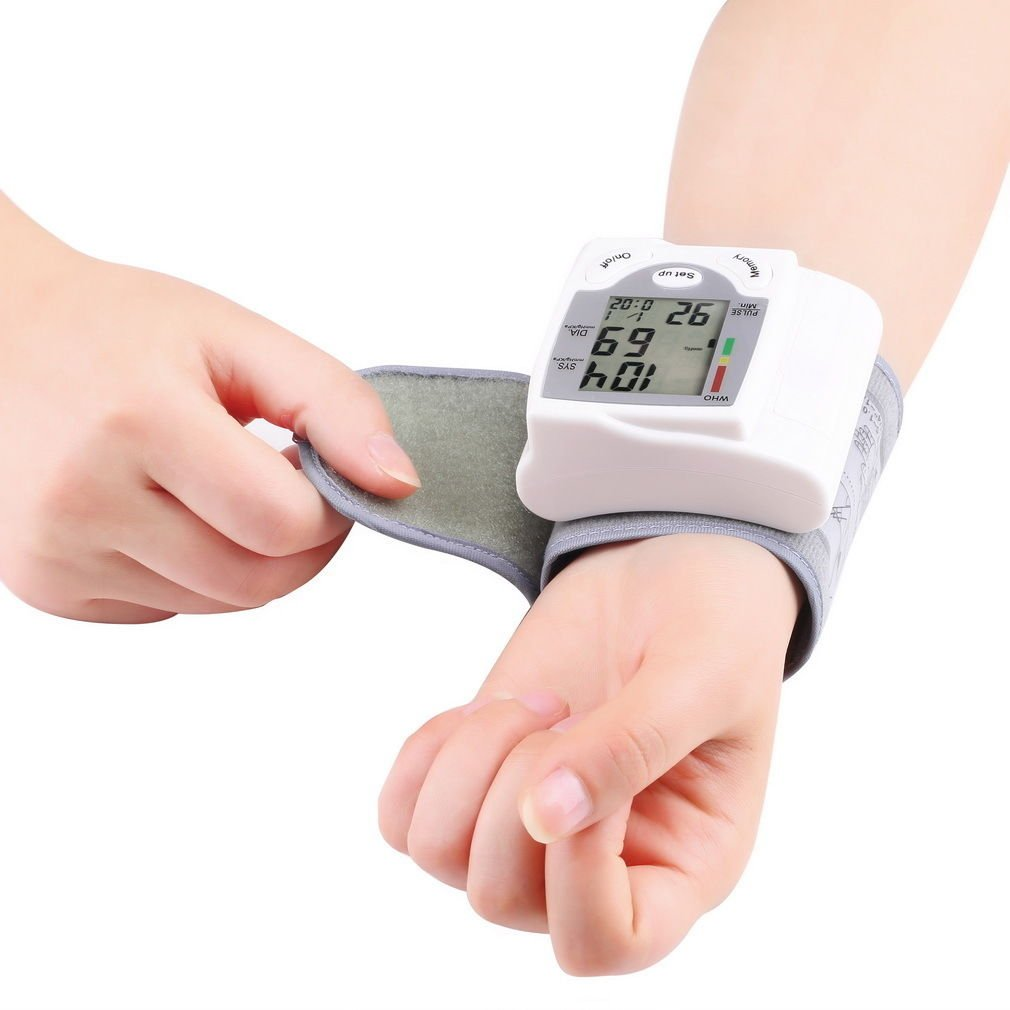 Digital LCD Wrist Blood Pressure Monitor Heart Beat Rate Pulse Meter Measure