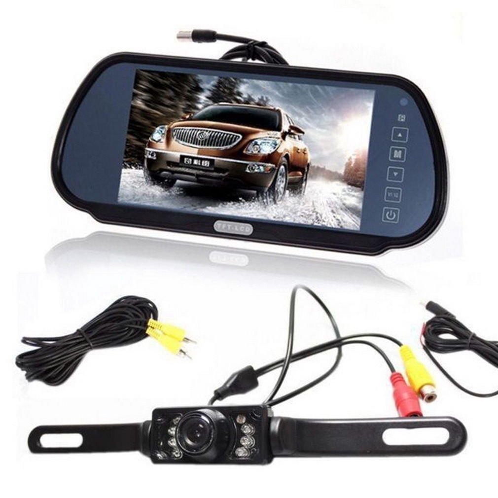 """7"""" LCD Car Rear View Backup Parking Blue Mirror Monitor Camera Night Vision DB"""