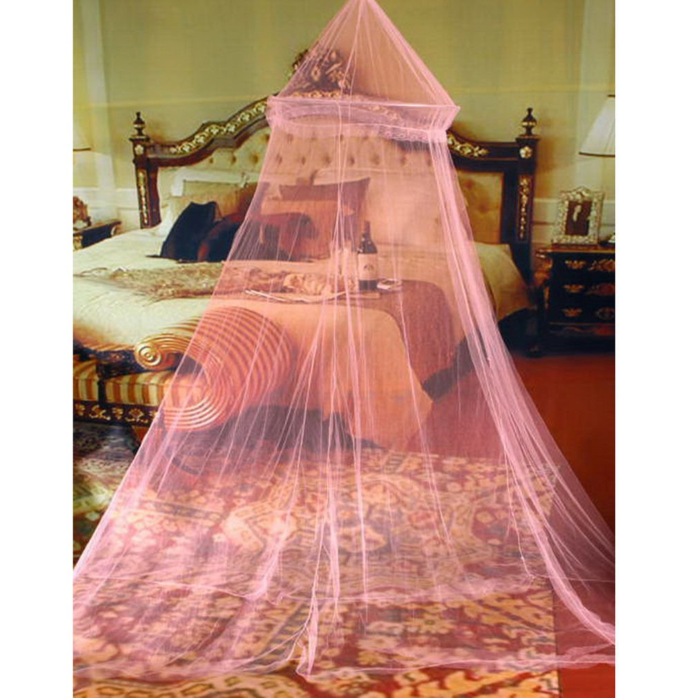 Pink 1PCS Elegant Round Lace Insect Bed Canopy Netting Curtain Dome Mosquito Net db