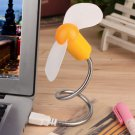 Yellow Flexible USB Mini Cooling Fan Cooler For Laptop Desktop PC Computer DB