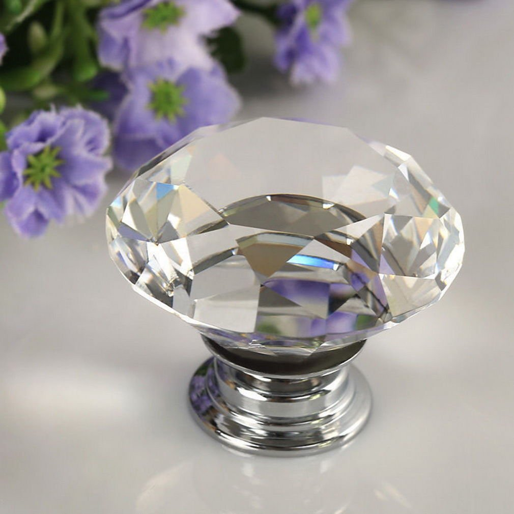 2 Pcs 30mm Diamond Clear Crystal Glass Door Pull Drawer Knob Handle Cabinet Furniture DB