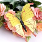 12pcs Yellow 3D Butterfly Sticker Art Design Decal Wall Home Decor Room Decorations db