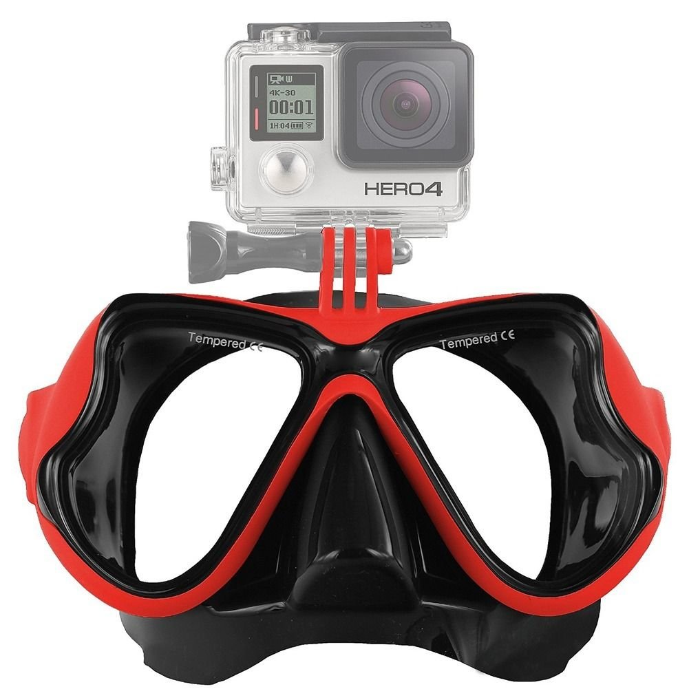 Red GoPro Hero 2 3 3+ 4 Scuba Diving Glasses Swimming Face Mask Snorkel Camera Mount db