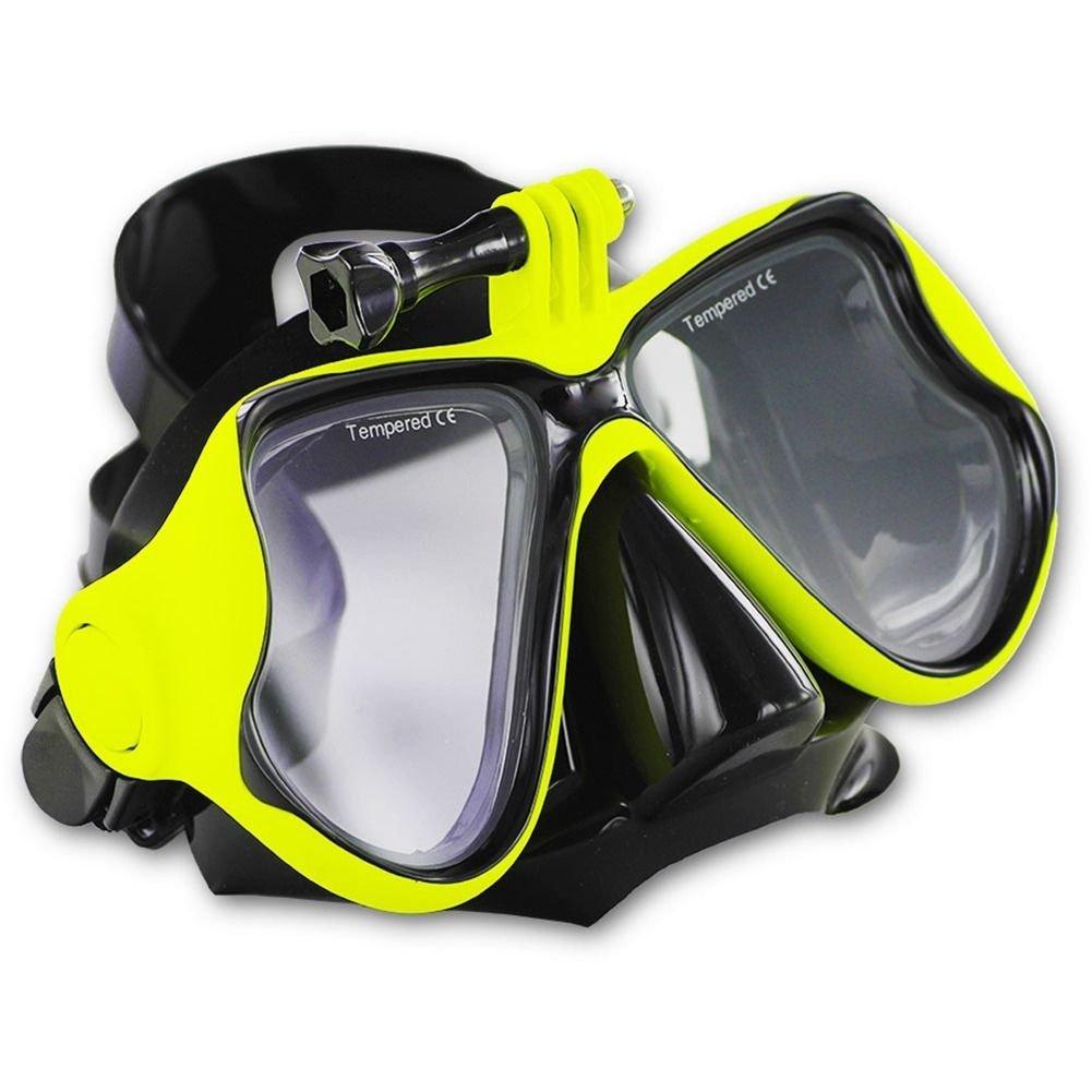 Yellow GoPro Hero 2 3 3+ 4 Scuba Diving Glasses Swimming Face Mask Snorkel Camera Mount db