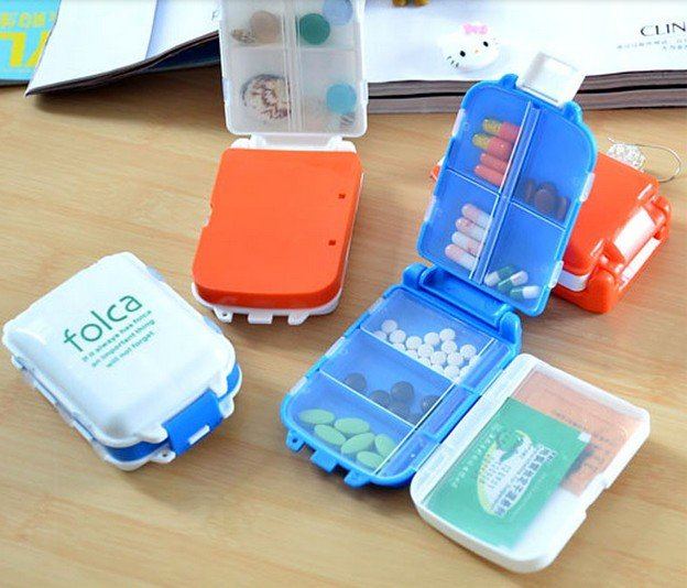 1 Pcs Portable Mini Sort Folding Vitamin Medicine Drug Container Pill Box Storage Cases