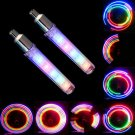2x Bike Bicycle Wheel Tire Valve Cap Spoke Neon 5 LED Lights Flash Lamp Colorful DB