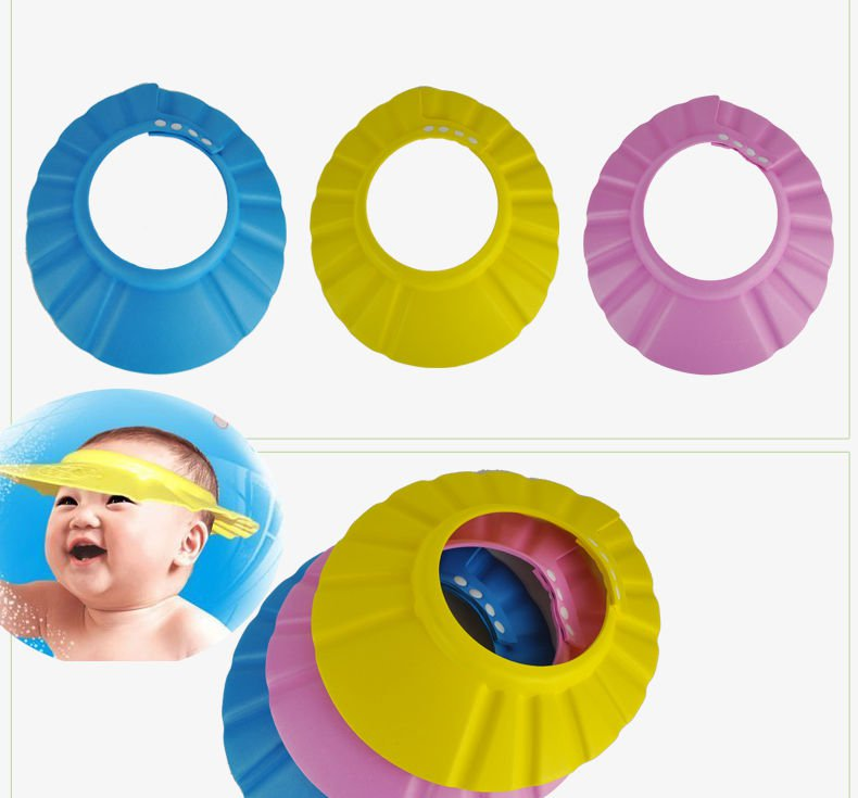 1 Pink Adjustable Baby Kids Shampoo Bath Bathing Shower Cap Hat Wash Hair Shield DB