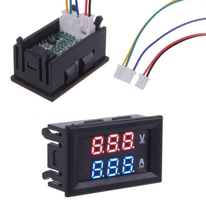 00V 100A Red + Blue LED DC Digital Display Ammeter Voltmeter Amp Volt Meter DB
