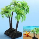 2 x Plastic Aquarium Coconut Trees Fish Tank Plants Ornament Decoration db