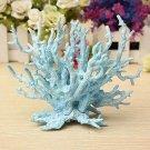 1 x Light Blue Plastic Vivid Coral Fish Tank Aquarium Plant Ornament Decoration db