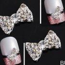 10Pcs 3D Clear Alloy Rhinestone Bow Tie Nail Art Slices Diy Decorations db