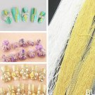 2 x Nail Art Tip Striping Tape Ball Beads Chain Glitter Metal Decorations Silver + Golden 3D