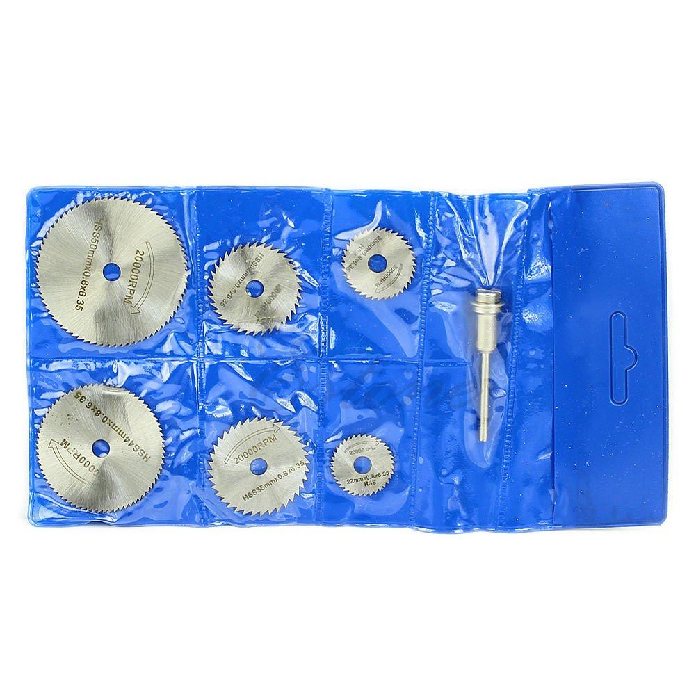 6PCS Circular Saw HSS Rotary Blades Tool Cutting Discs Mandrel For Dremel Cutoff db