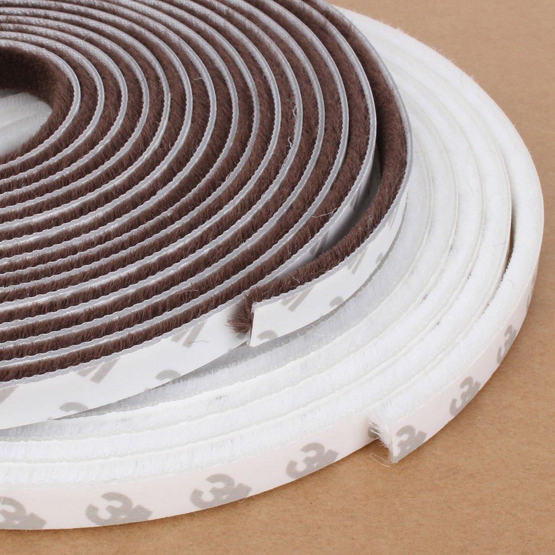 5m Self Adhesive Draught Excluder Brush Window Pile Seal Film Door Weather Strip Brown Color