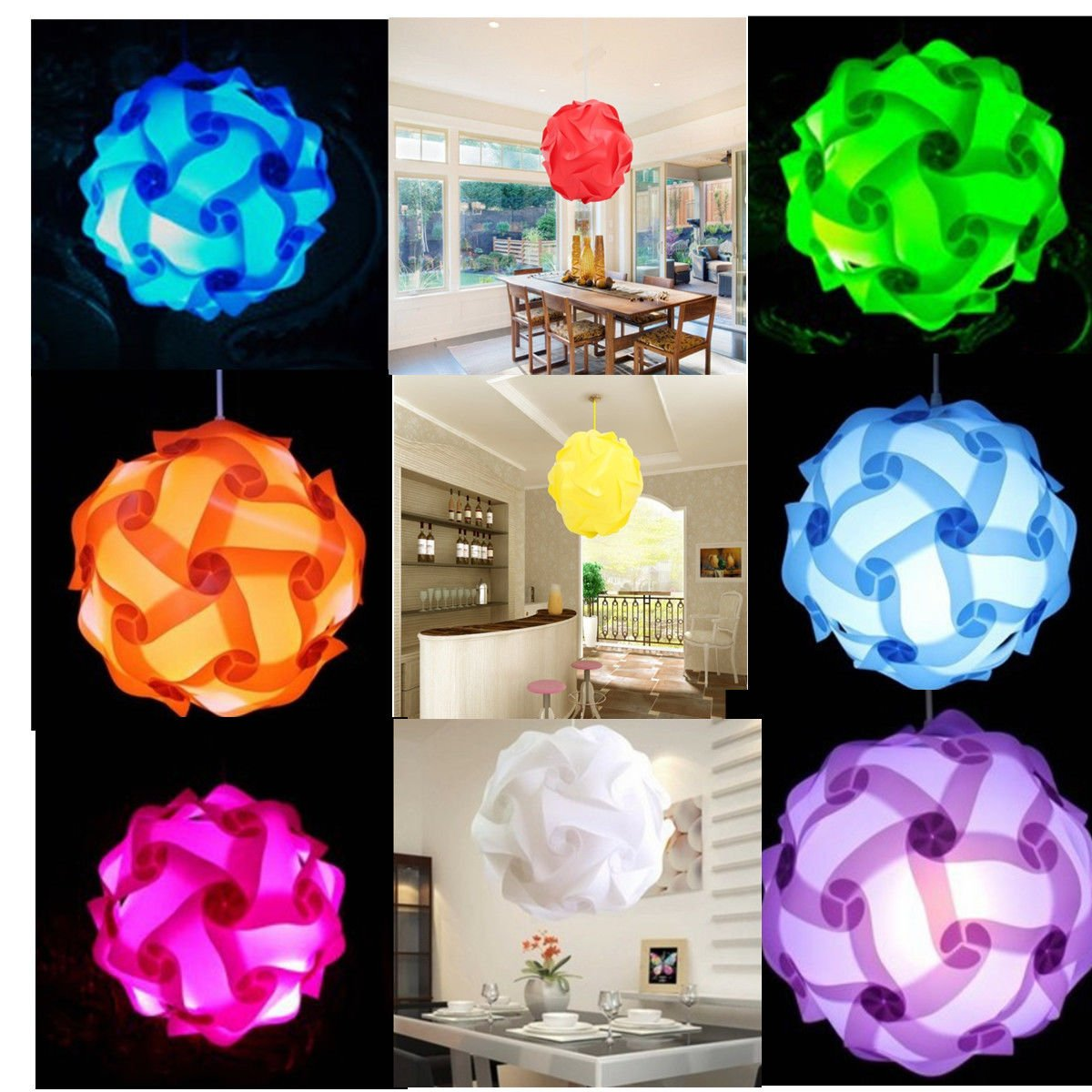 30pcs Elements Modern IQ Puzzle Jigsaw Light Lamp Shade Ceiling Lampshade Size S White Color