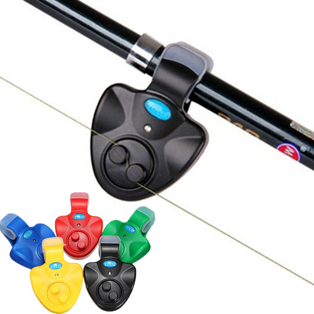 LED Light Electronic Fish Bite Alarm Finder Sound Alert Bell Clip On Fishing Rod Yellow Color