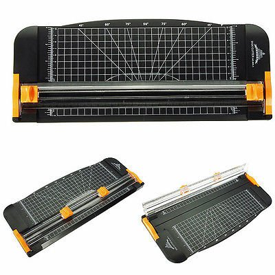 909-1 A4 Guillotine Ruler Paper Cutter Trimmer Black-Orange Plastic Cutters db