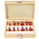 "12PCS DIY 1/4"" Shank Tungsten Carbide Router Bit Set Wooden Case Tool Kit db"