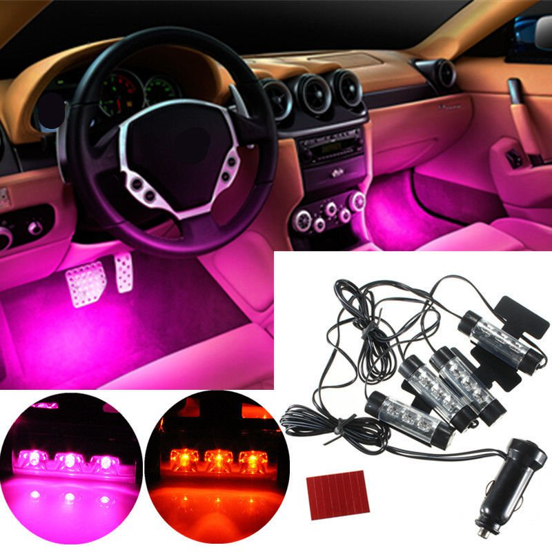 12v car charge 4 in 1 atmosphere light lamp glow car interior decor db. Black Bedroom Furniture Sets. Home Design Ideas