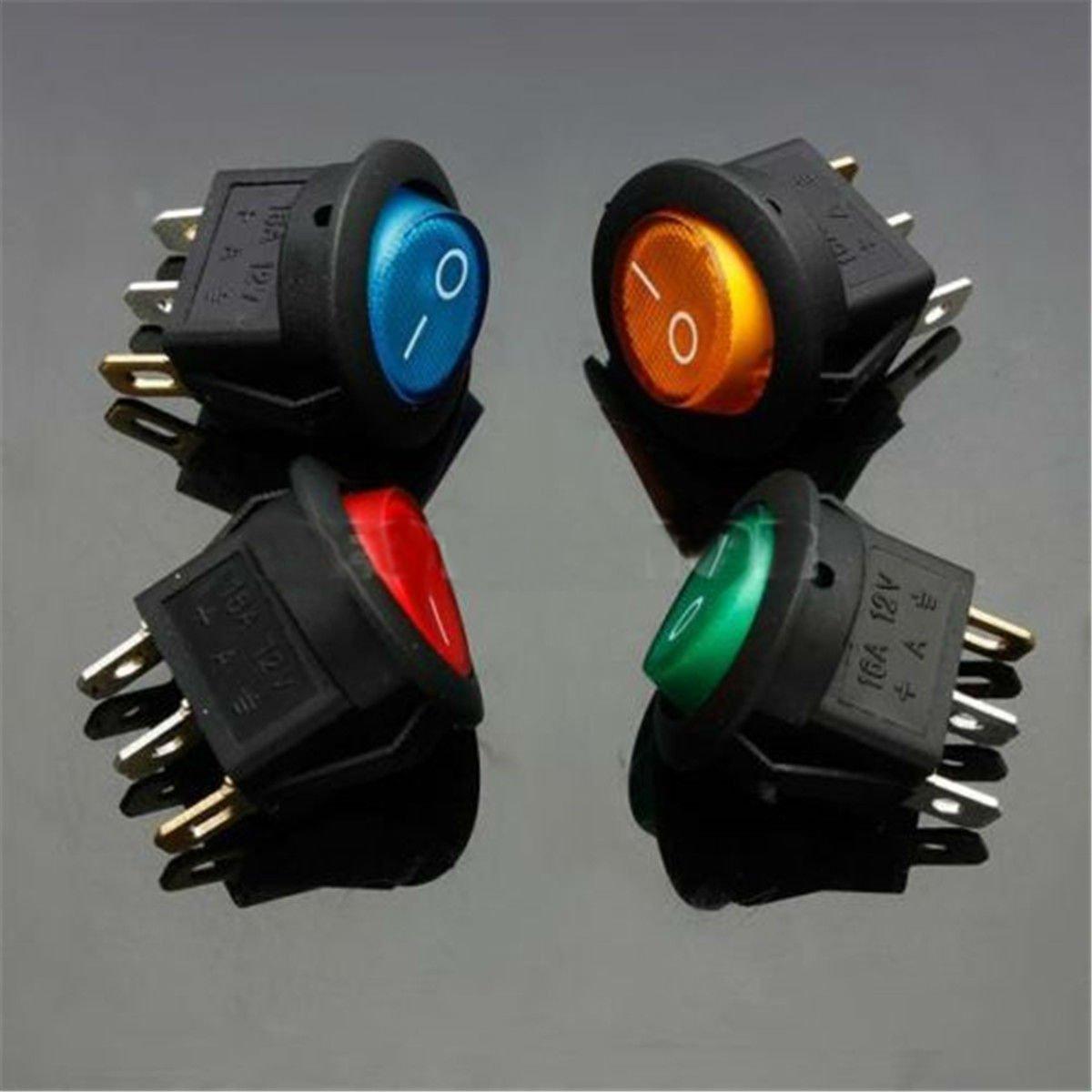 4PCS 12V 16A ON/OFF LED DOT ROUND ROCKER SPST TOGGLE SWITCH CAR AUTO BOAT LIGHT db