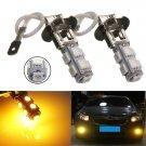 2pcs H3 9 LED 5050 SMD Amber Yellow Car Fog Driving Headlight Light Lamp Bulb db