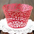 12PCS Wedding Birthday Baby Shower Filigree Vine Cupcake Wrappers Wraps Cases Red Color