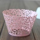 12PCS Wedding Birthday Baby Shower Filigree Vine Cupcake Wrappers Wraps Cases Pink Color