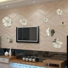 3D Mirror Wall Stickers Nice Home Decoration 5 Flowers Sticker Silver Color