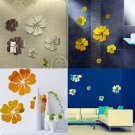 3D Mirror Wall Stickers Nice Home Decoration 5 Flowers Sticker Golden Color
