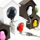 Keychain Wall Hook Sweet Sparrow Key Ring Birdhouse Bird Nest Home Decor Coffee Color One Set