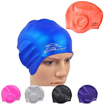 Silicone Stretch Swimming Long Hair Cap Hat With Ear Cup Water Proof Pink