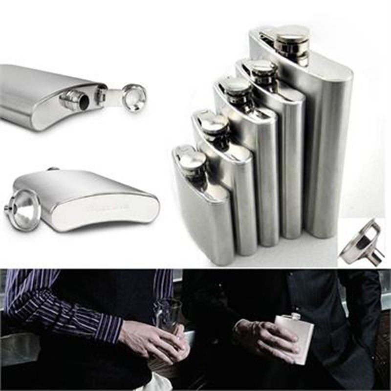 Stainless Steel Hip Liquor Whiskey Alcohol Flask 10 oz Bottle + Screw Cap
