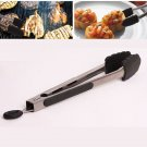 Stainless Steel Kitchen Cooking Food Vegetable BBQ Buffet Utensil Tongs Lock 9 Inch